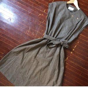 Vintage wool dress button shoulder drawstring